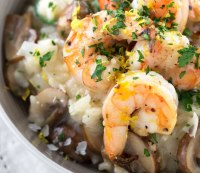 Garlic shrimp with spinach and mushroom risotto