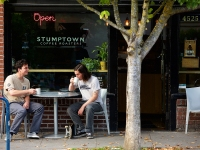 Danny And Donny Johnson Of Portland, Oregon Drink Coffee Outside Of Stumptown Coffee Roasters.