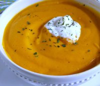 Baked sweet potato and carrot soup