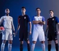 Clint Dempsey models the new USA Soccer jersey.