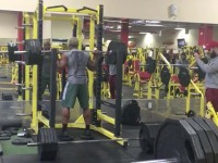Terron Beckham (@fbaftermath) does a squat at the gym.