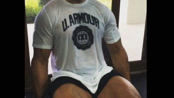 The Rock does leg extensions.