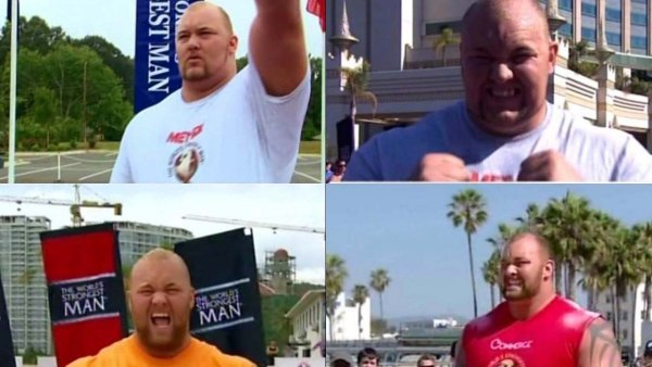 Thor Bjornsson at the World's Strongest Man competition. Clockwise from top left: 2011, 2012, 2014, 2013