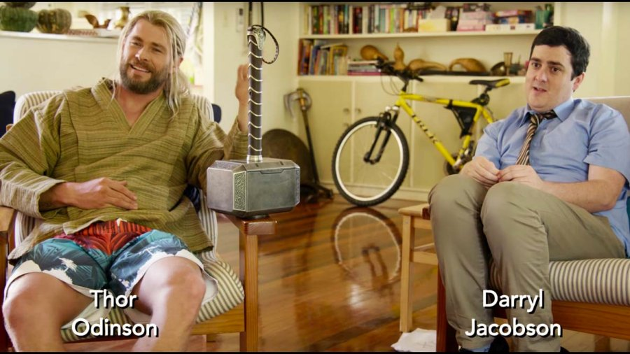 Thor (Chris Hemsworth) and his roommate Darryl. / via YouTube