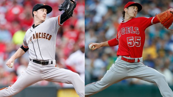 Tim Lincecum pitches for the Giants and Angels