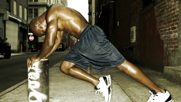 Athlete Runner Sweating Stretching City Workout