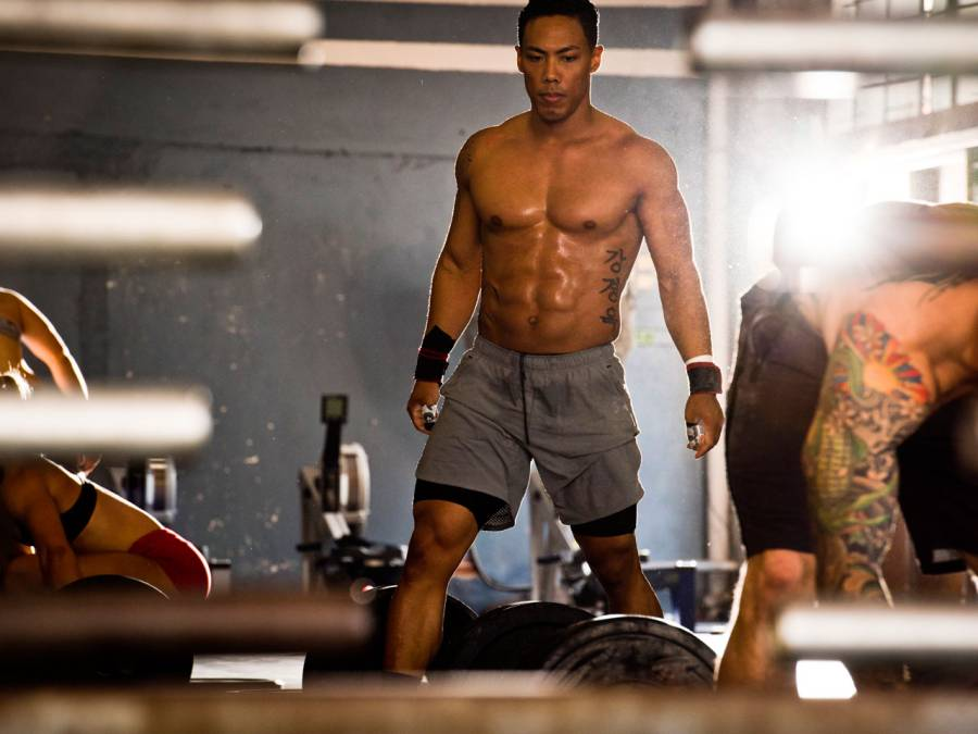 Athletic male in warehouse gym