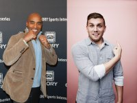 Tiki Barber and Chris Distefano, hosts of Ultimate Beastmaster