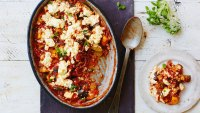 Ratatouille casserole with farro and feta