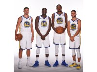 Klay Thompson #11, Draymond Green #23, Kevin Durant #35 and Stephen Curry #30 of the Golden State Warriors