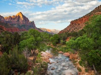 Watchman Rock And The Virgin River At Zion National Park Utah