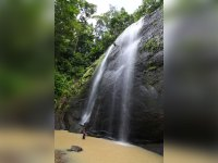 Repelling down Errard Waterfall in St. Lucia