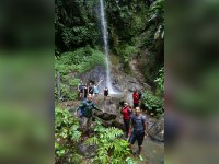 Waterfall swim during Mt Gimie hike