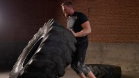 JJ Watt does a workout with a 1,000 pound tire