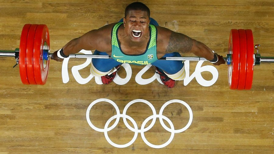 Weightlifter competing at the Rio 2016 Olympic Games in Rio de Janeiro