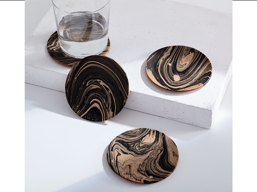 5. Marbled Leather Coaster Set from West Elm