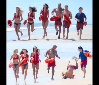 Zac Efron falls while filming Baywatch. / Instagram @zacefron