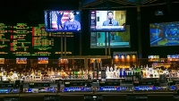 The bar in the sports book at Caesars Palace, May 19, 2015 in Las Vegas, Nevada.