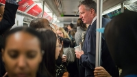 Mayor Bill de Blasio takes the subway on October 24, 2014.