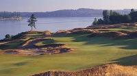 A view of the ninth hole at Chambers Bay.