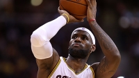 LeBron James #23 of the Cleveland Cavaliers prepares to shoot a free throw against the Chicago Bulls on October 20, 2014 at Schottenstein Center in Columbus, Ohio.