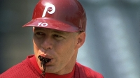 Lenny Dykstra chews tobacco during a game against the Chicago Cubs, Sept 1, 1990.