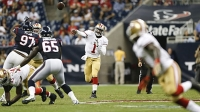 Josh Johnson of the San Francisco 49ers passes during the game against the Houston Texans at Reliant Stadium.
