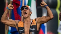 Apolo Ohno competed in the Ironman World Championships with Team Chocolate Milk.