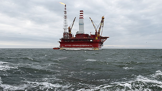 A view of the Gazprom Arctic oil rig 'Prirazlomnaya' in the Barents Sea, near Naryan Mar, Russia on September 14, 2014.