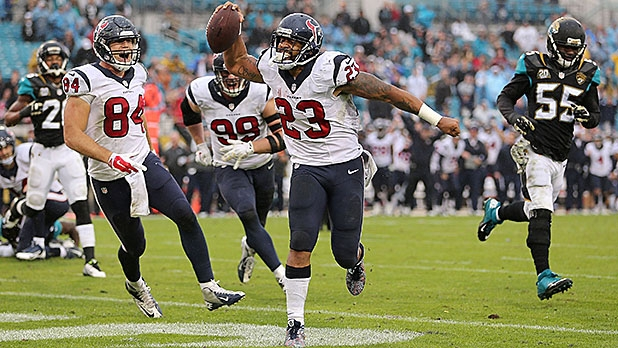 Arian Foster of the Houston Texans celebrates after scoring a touchdown against the Jacksonville Jaguars.