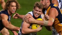 Josh Caddy of the Cats looks to break from a tackle by Dean Cox of the Eagles during the round 21 AFL match between the West Coast Eagles and the Geelong Cats at Patersons Stadium on August 17, 2013 in Perth, Australia.