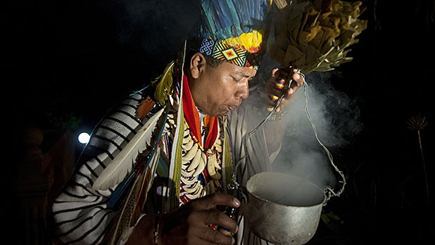 A healer starting a Yage ceremony in La Calera, Cundinamarca department, Colombia.