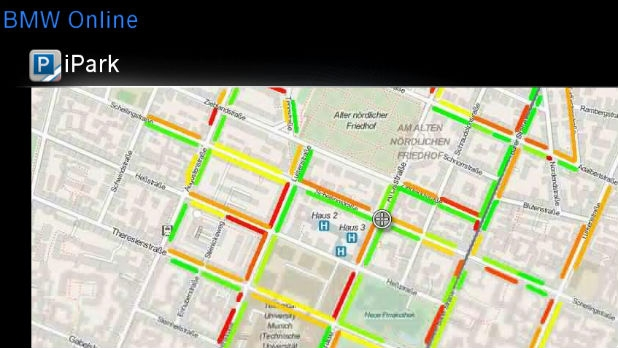 BMW's Inrix-powered map will help you find a parking spot.