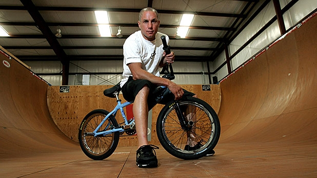 Dave Mirra poses in the half-pipe at his training facility in Greenville, N.C. Mirra died on Thursday of what is believed to be a self-inflicted gunshot wound.