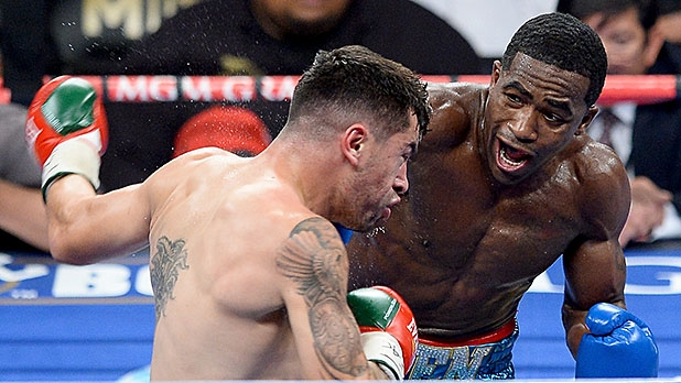 Adrien Broner takes on Carlos Molina during a super lightweight bout on May 3, 2014 in Las Vegas.