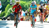 American Tejay van Garderen (left) finishes Stage 3 next to 2014 Tour de France winner Vincenzo Nibali.
