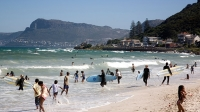 Cape Town's Muizenberg beach is popular with surfers.