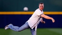 Former Atlanta Brave Chipper Jones throws out the ceremonial first pitch prior to the game against the Philadelphia Phillies. -
