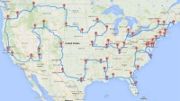 Randy Olson's map to 50 landmarks across the lower 48 states.