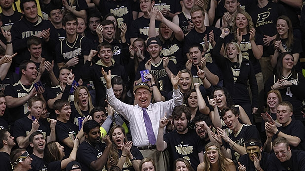 ESPN analyst Dick Vitale cheers with the Purdue Boilermakers student section before the game against the Maryland Terrapins at Mackey Arena on February 27, 2016 in West Lafayette, Indiana.
