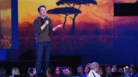 Actor, filmmaker, and co-founder of CrowdRise Edward Norton speaks on stage during We Day at Key Arena in Seattle, Washington.