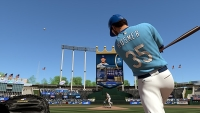 A digitally-rendered Eric Hosmer takes a few cuts in baseball's latest sim, MLB 15: The Show. (Credit: Playstation)
