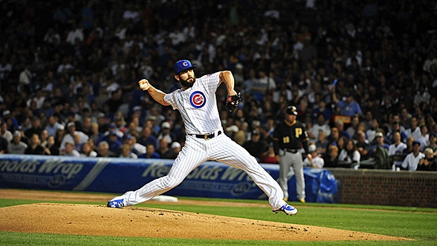Jake Arrieta #49 of the Chicago Cubs pitches against the Pittsburgh Pirates on September 27, 2015 at Wrigley Field in Chicago, Illinois. The Cubs won 4-0.