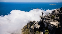 A climber overlooks the clouds from Table Mountain.