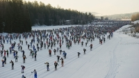 Nearly 16,000 skiers begin the 88th Vasaloppet cross-country ski marathon in Mora, central Sweden, on March 4, 2012.