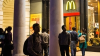 A McDonald's in Connaught Place, a luxury shopping area in the city center of New Delhi.