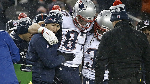 Patriots tight end Rob Gronkowski is carried off the field.
