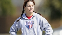 Jennifer Welter waits for her turn to participate in a drill during a Texas Revolution practice, February 13, 2014, in Allen, Texas.