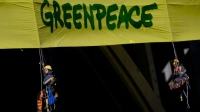 Greenpeace activists are blocking a Shell Oil icebreaker from leaving Portland, Oregon.