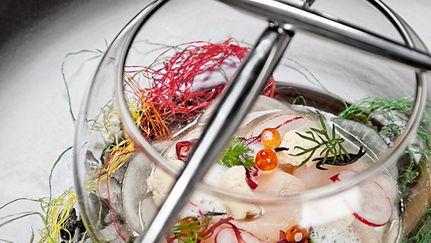 Hand dived scallop ceviche with tiger's milk at Australasia.